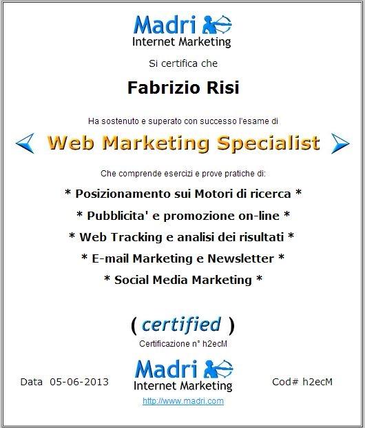 Web Marketing Specialist Certificazione Fabrizio Risi